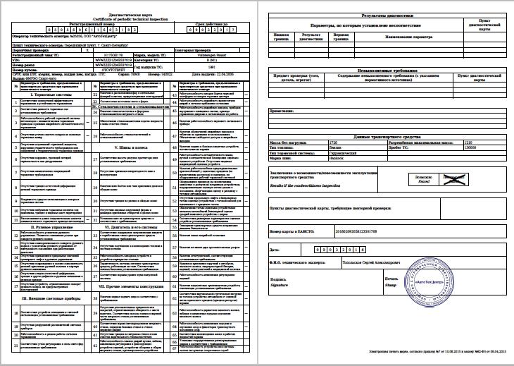 диагностическая карта оборудования образец - фото 3